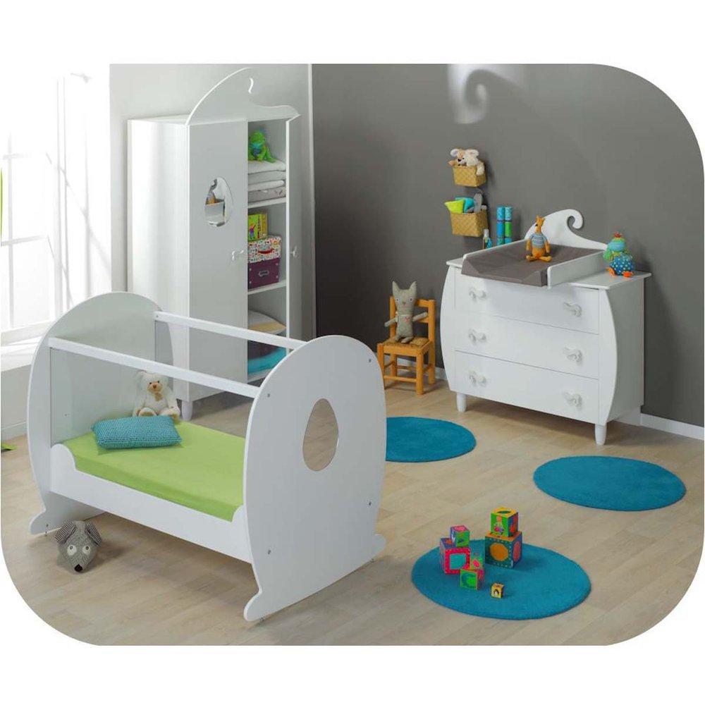 Babyzimmer komplett Lutin weiß mit Babybett mit durchsichtigen Seiten
