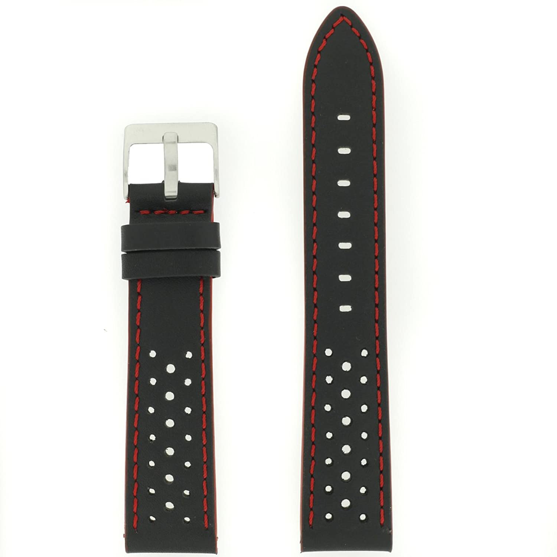techswissレザー腕時計バンドブラックレッドスポーツストラップメンズ18 mm 20 mm 22 mm 24 mm – 汗通気性 24mm  24mm B073274QXB