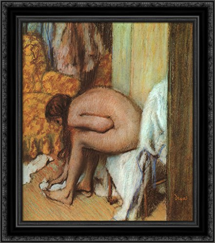 After the Bath (Woman wiping her left foot) 24x20 Black Ornate Wood Framed Canvas Art by Edgar Degas (Wiping Feet Woman Her)