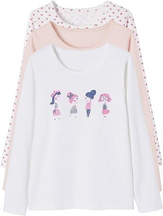 VERTBAUDET Lote de 3 Camisetas Stretch niña Manga Larga Rosa Claro Bicolor/Multicolor 8A: Amazon.es: Ropa y accesorios