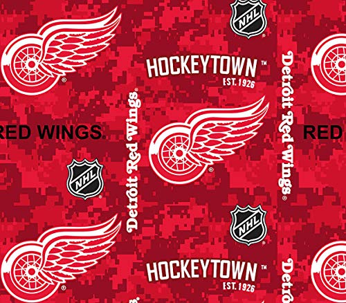 Detroit Redwings Fleece Blanket Fabric-Digi Camo Design-Sold by The Yard (Red Wings Fabric)