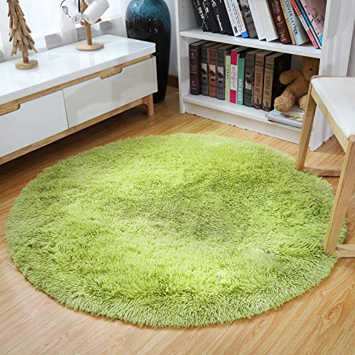 YJ.GWL Ultra Soft Round Green Area Rugs for Bedroom Anti-Slip Fluffy Kids Room Rug Cute Nursery Carpets Mat Home Decor 4 Feet (Small Rug Green)
