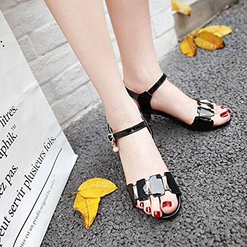 Mee Shoes Women's Chic Mid Heel Ankle Strap Bead Buckle Sandals Black uL6oaXI6