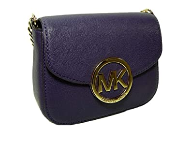 26c7353bd8d8 Image Unavailable. Image not available for. Color  New Michael Kors Logo  Purse Crossbody Tiny Party Bag Genuine Purple Leather