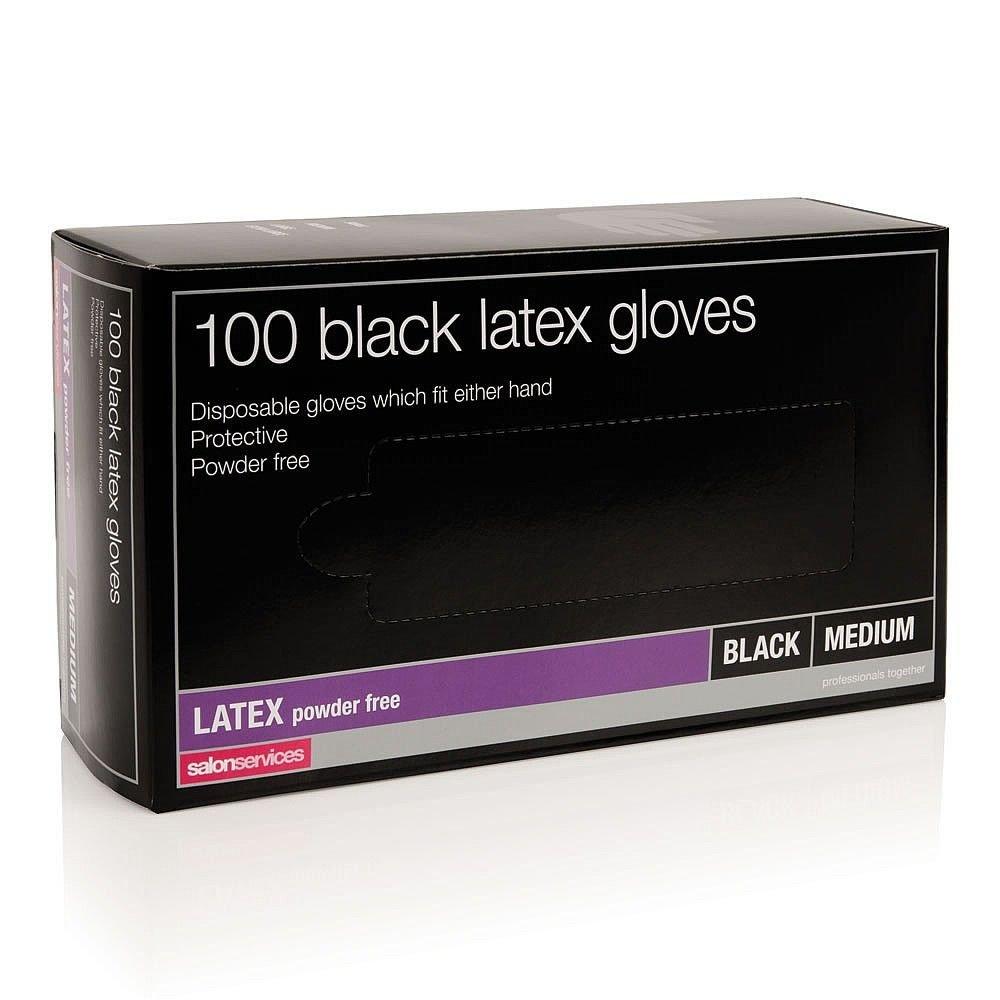 Salon Services Latex Gloves Black Medium 100 Pack