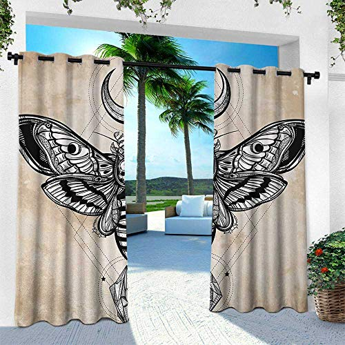leinuoyi Fantasy, Outdoor- Free Standing Outdoor Privacy Curtain, Dead Head Hawk Moth with Luna and Stone Spiritual Magic Skull Illustration, W108 x L108 Inch, Black White Cream