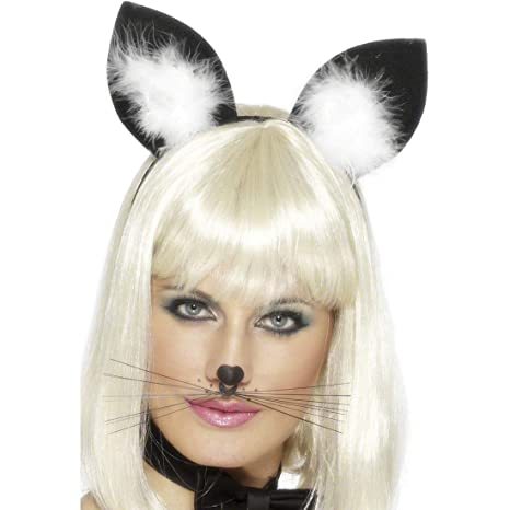 Orejas de gato de cuernos de colour negro-blanco gatos diadema orejas de gato neumáticos