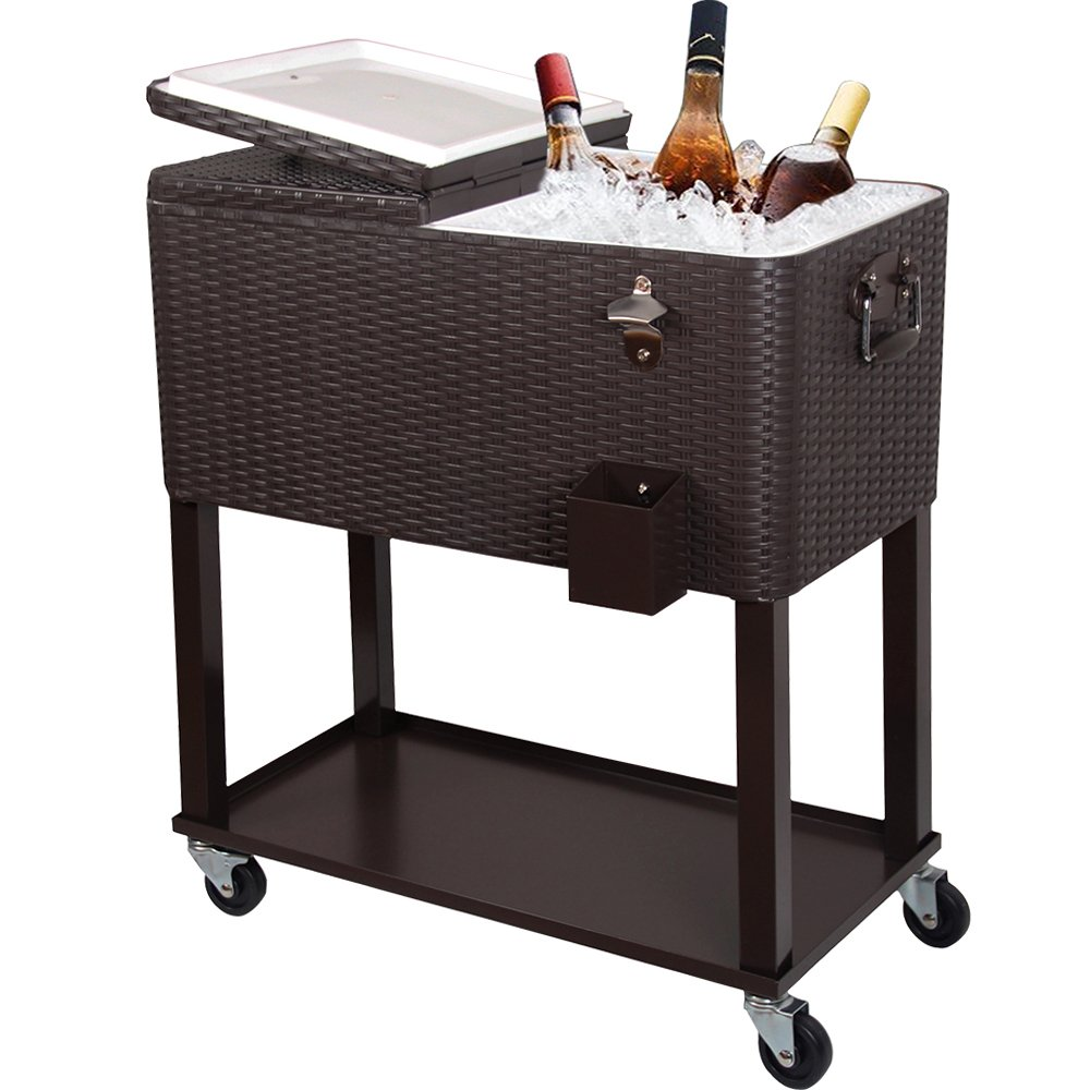 UPHA 80 Quart Rolling Outdoor Patio Cooler Cart on Wheels, Wicker Pattern Beverage Ice Cooler for Patio Pool Party, Ice Chest with Shelf and Bottle Opener, Brown by UPHA