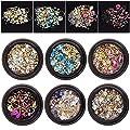 6 Wheels Mixed Nail Art Rhinestones Diamonds Crystals Beads Gems for DIY Decor