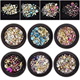 6 Wheels Mixed Nail Art Rhinestones Diamonds Crystals Beads Gems for DIY Decor 02#