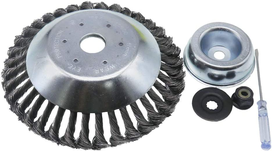 QHALEN 8 Inches Heavy Duty Steal Wire Brush Cutter Trimmer Head with Adapter Kit for String Trimmers, Rust Removal, Lawn Mower