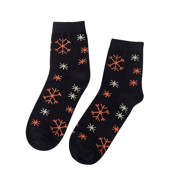 Miss Fortan Calcetines Navidad Hombre Elásticos Compresión Transpirable Copo de Nieve Tubo Medio Calcetine de Puro Algodón Negro: Amazon.es: Ropa y ...