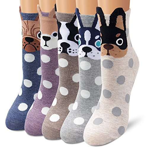 Ambielly Women Socks Cute Animal Patterned Casual Cotton Socks (5 Dots Dogs)