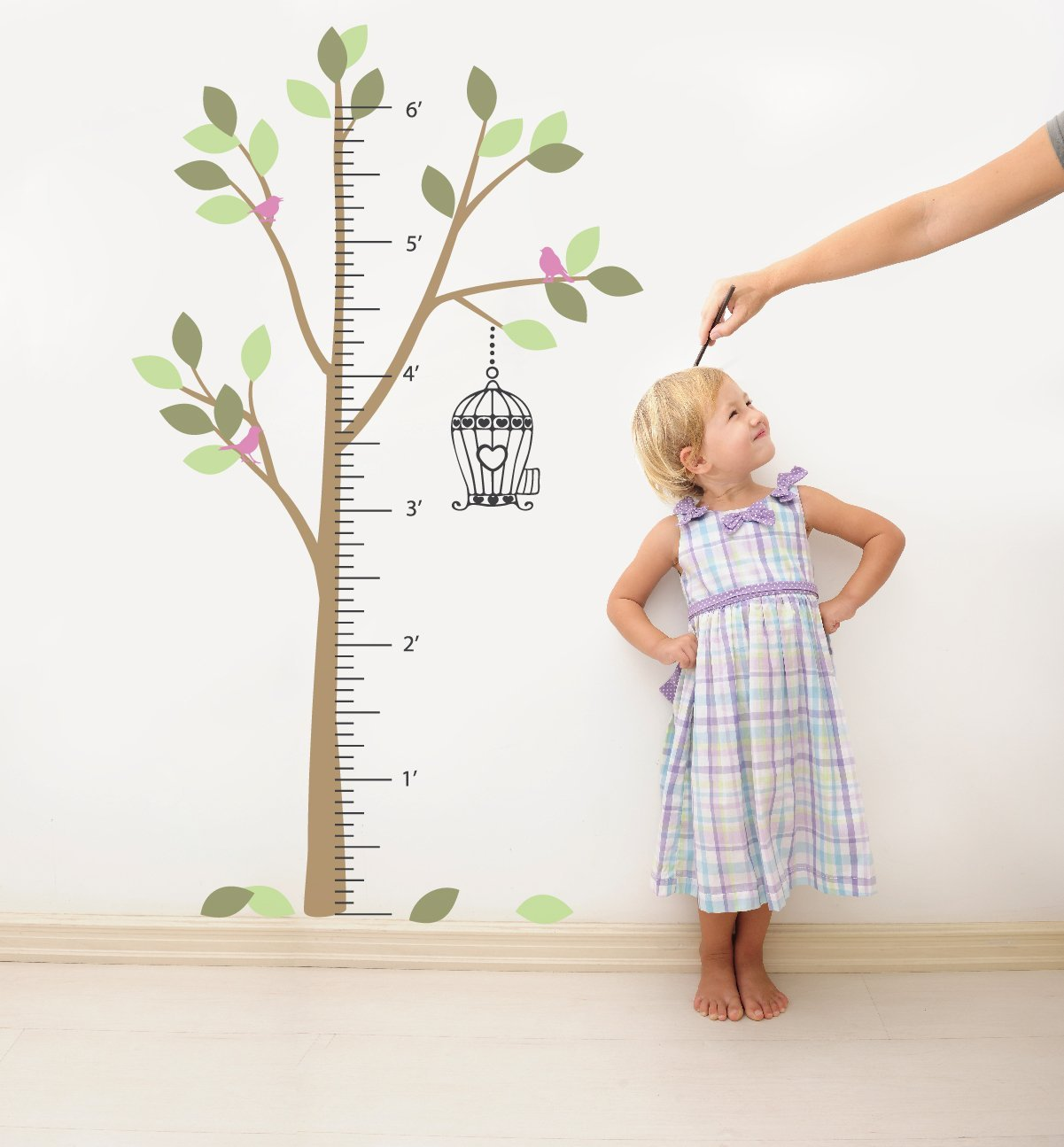 Growth Chart Tree Wall Decal Sticker for Kids Height Ruler with Birdcage and Birds Vinyl Transfer (Color Option 5, 80x46 inches) by The Decal Guru