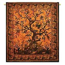 Handicrunch Orange Bohemian Tapestry Hippie Wall Art Tree Of Life Room Full Size Bed Sheet 92X82