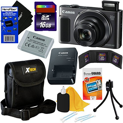 (Canon PowerShot SX620 HS 20.2 MP Wi-Fi Digital Camera with 25x Optical Zoom & HD 1080p Video (Black) International Version + 9pc 16GB Accessory Kit w/HeroFiber Gentle Cleaning Cloth)