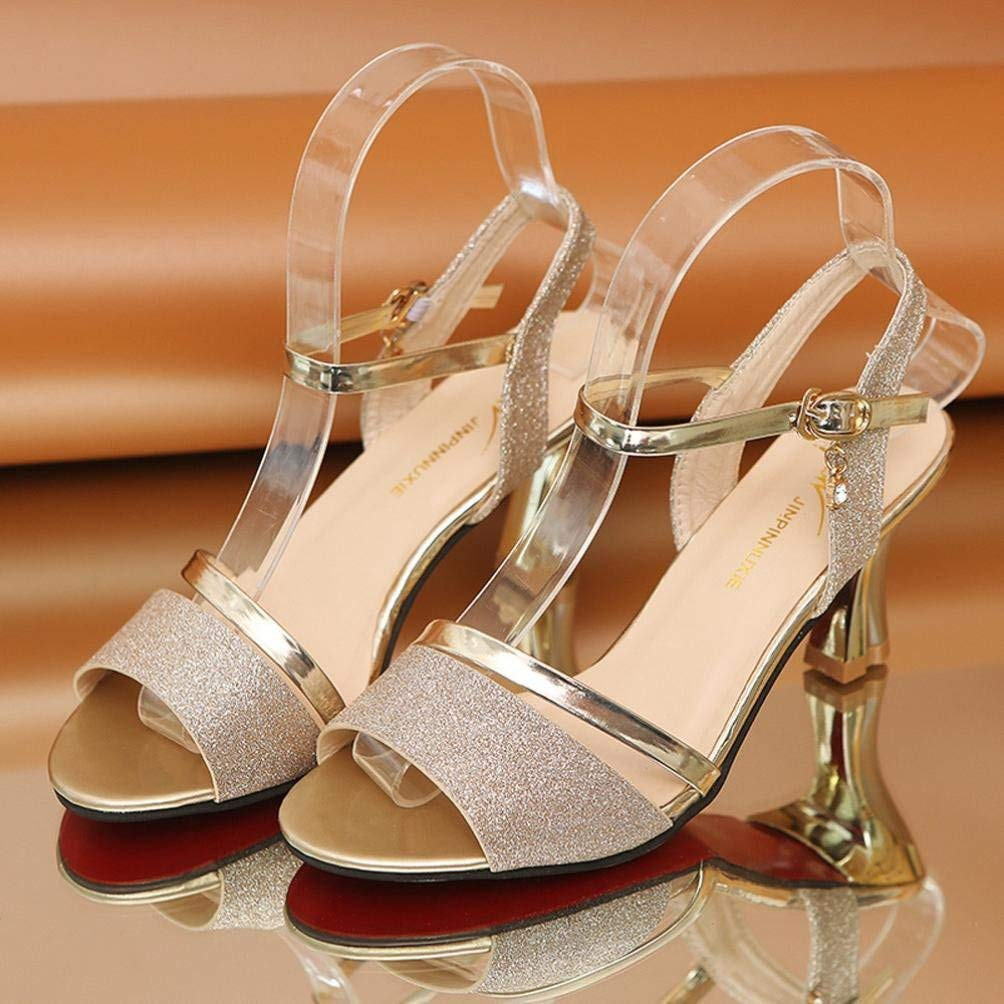 Qiusa Mode Frauen Pailletten Sandalen Knöchel Schnalle High Heels Block Block Block Party Offene Spitze Schuhe (Farbe   Gold Größe   CN37UK3.5) ee5c46