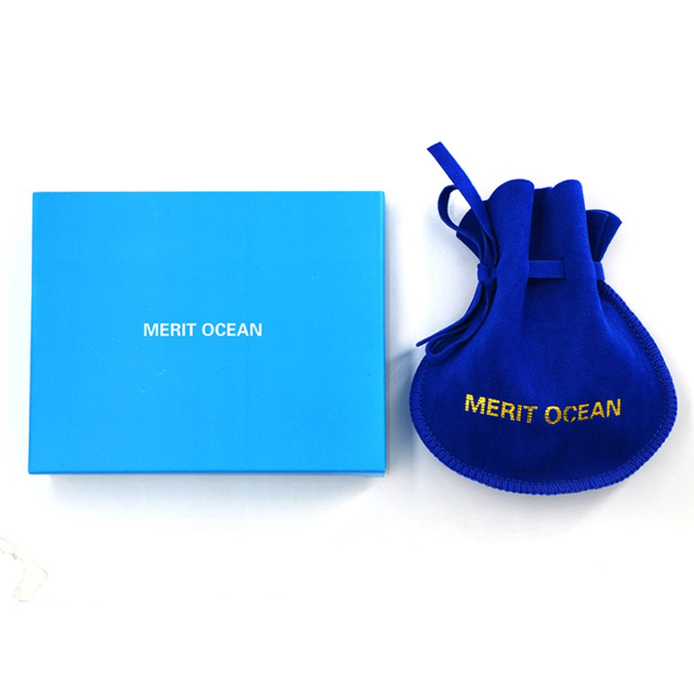 MERIT OCEAN Blue Navy Swarovski Crystal Square Cufflinks for Men Classical Swarovski Cuff Links with Gift Box Elegant Style by MERIT OCEAN (Image #7)