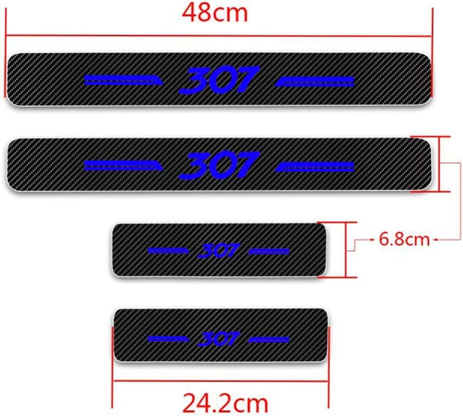 For 206 Carbon Fiber Car Door Sill Scuff Guard Anti Scratch Panel Step Protector Stickers For 206,White