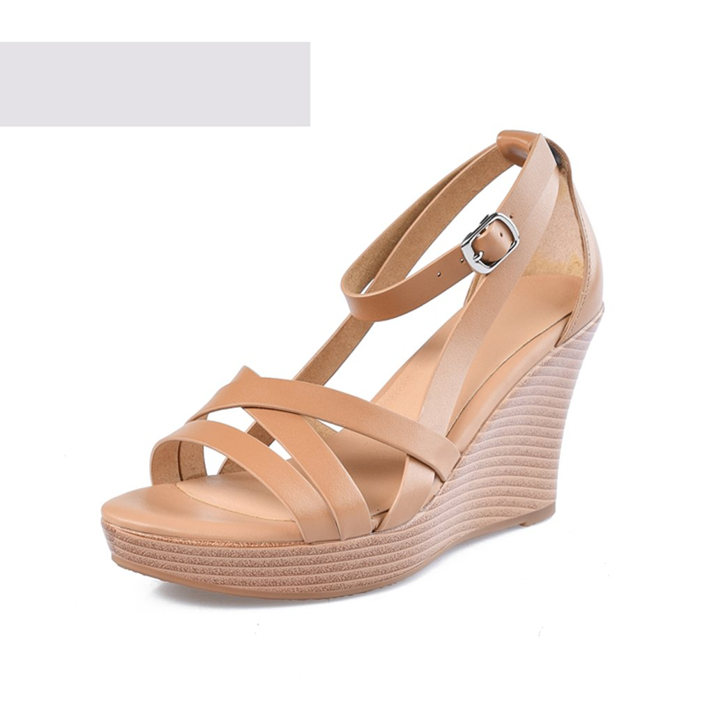 Sandales Chaussures pour Chaussures Femmes Cuir de Vachette Cross Strap pour Size Chaussures pour Femmes Wedge Thick 8cm (Color : Brown, Size : 38) Brown 02c102e - therethere.space