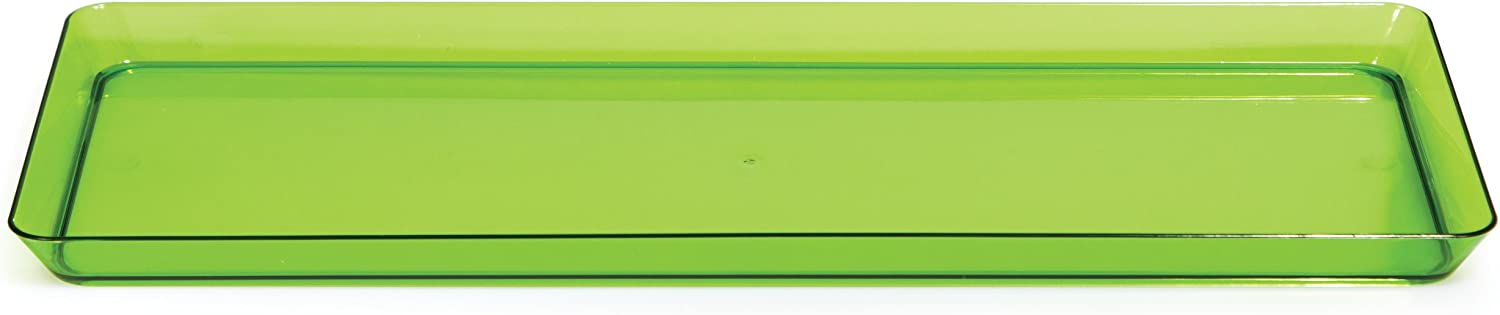 Creative Converting Rectangle Plastic Serving Tray, 15.5 Inch X 6 Inch, Translucent Green