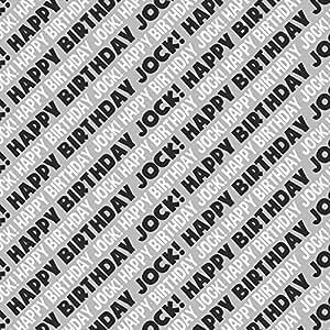 Jock Happy Birthday Premium Gift Wrap Wrapping Paper Roll - Black White