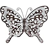 HONGLAND Metal Butterfly Wall Decor Rust Color Art Sculpture Hanging Glass Farmhouse Decorations for Outdoor Indoor Home…