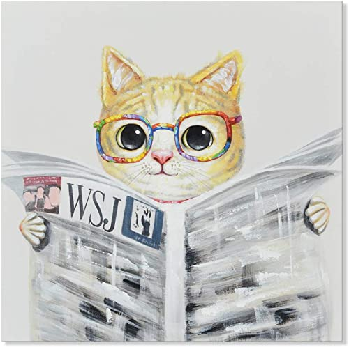SEVEN WALL ARTS – Modern Hand-Painted Oil Painting Animal Cute Pet Cat Artwork with Stretched Frame for Kids Room Home Decor Cute Cat Reading Newspapers, 24 x 24 Inch