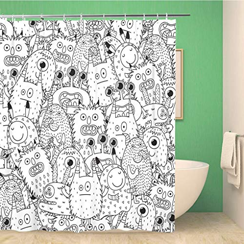 Awowee Bathroom Shower Curtain Halloween Funny Monsters for Coloring Book Black and Page Polyester Fabric 72x78 inches Waterproof Bath Curtain Set with Hooks]()