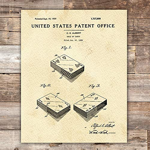 (Playing Cards Patent Print Wall Art - Unframed -)