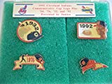 CLEVELAND INDIANS COMMEMORATIVE CAP LOGO PINS CRACKED CASE MLB BASEBALL