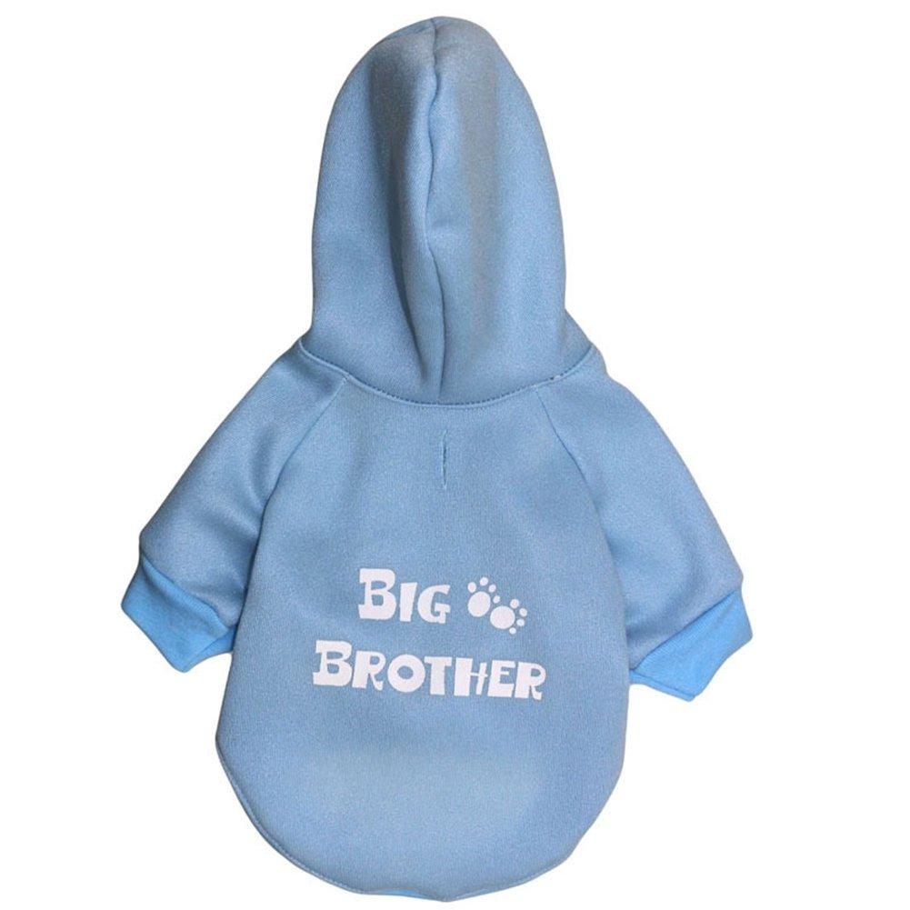 Bredherbluee M Bredherbluee M GINBL Pet Small Dog Big Bredher Print Hoodie for Cute Dogs Sweatshirt Puppy Winter Costume Hoodies