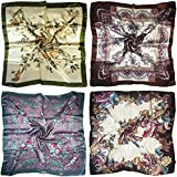 LilMents 4 Mixed Designs Large 35'' × 35'' Square Polyester Satin Neck Head Scarf Scarves Set (Set W20)