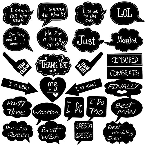 Large Wedding Photo Booth Props 26pcs BizoeRade DIY Party Props, Included 10pcs Black Blank Chalkboard Message Signs & 16pcs Wedding Props with Funny Written TEXT For Weddings Party