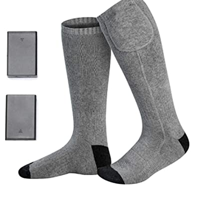 RONDA Cotton Washable Electric Heated Socks with Rechargeable Battery for Chronically Cold Feet for Hunting Ice
