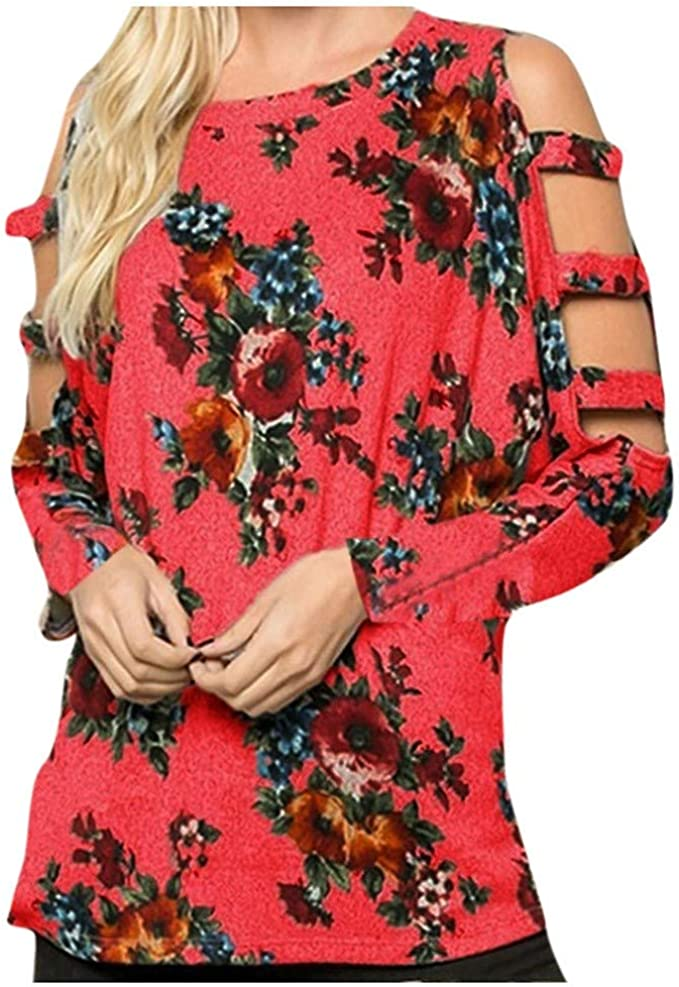 Camisa Suelta de Manga Larga con Cuello Redondo y Estampado Floral ...