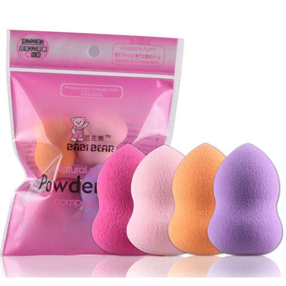 4pcs Pro Beauty Flawless Makeup Sponges Blender Foundation Puff Multi Color,Shape (Gourd Shape)