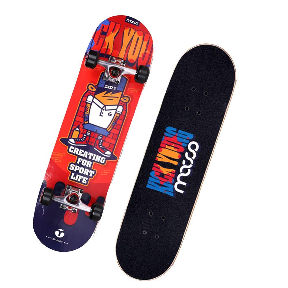 プロ用凹面スケートボード、7層92AハードメープルデッキABEC-5ベアリングを備えた完全なスケートボード、初心者およびプロフェッショナル向け,赤 赤