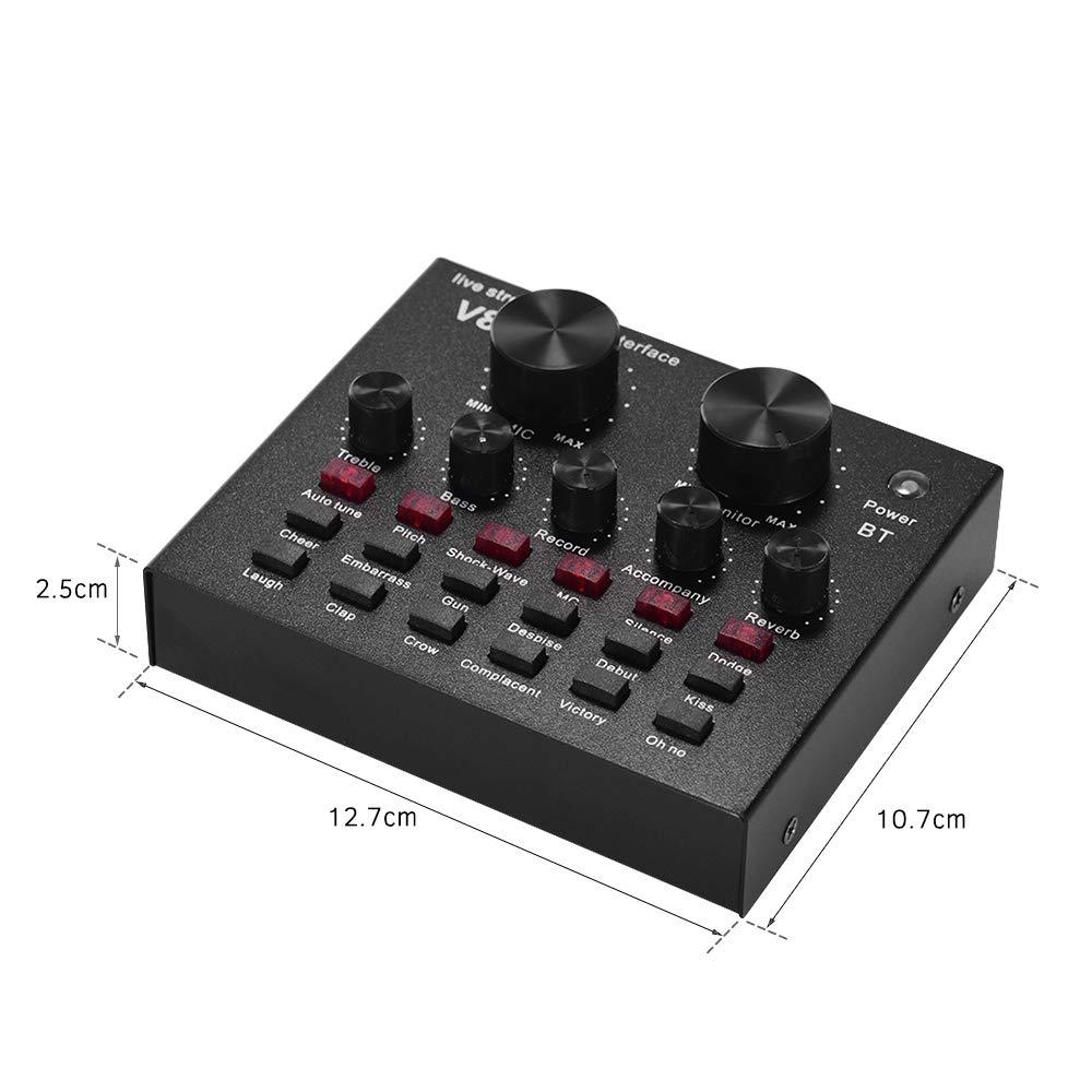 Muslady Mezcla de Audio Externa Tarjeta de Sonido Interfaz de Audio USB Conexión BT con Múltiples Efectos de Sonido Batería Recargable Incorporada