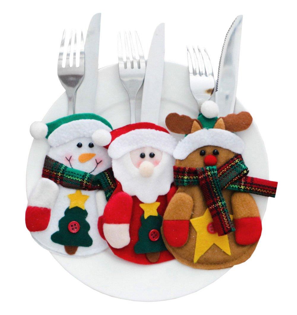 Lisli 3pcs Christmas Santa Snowman Elk Silverware Holder Pocket Xmas Table Dinner Party Decoration