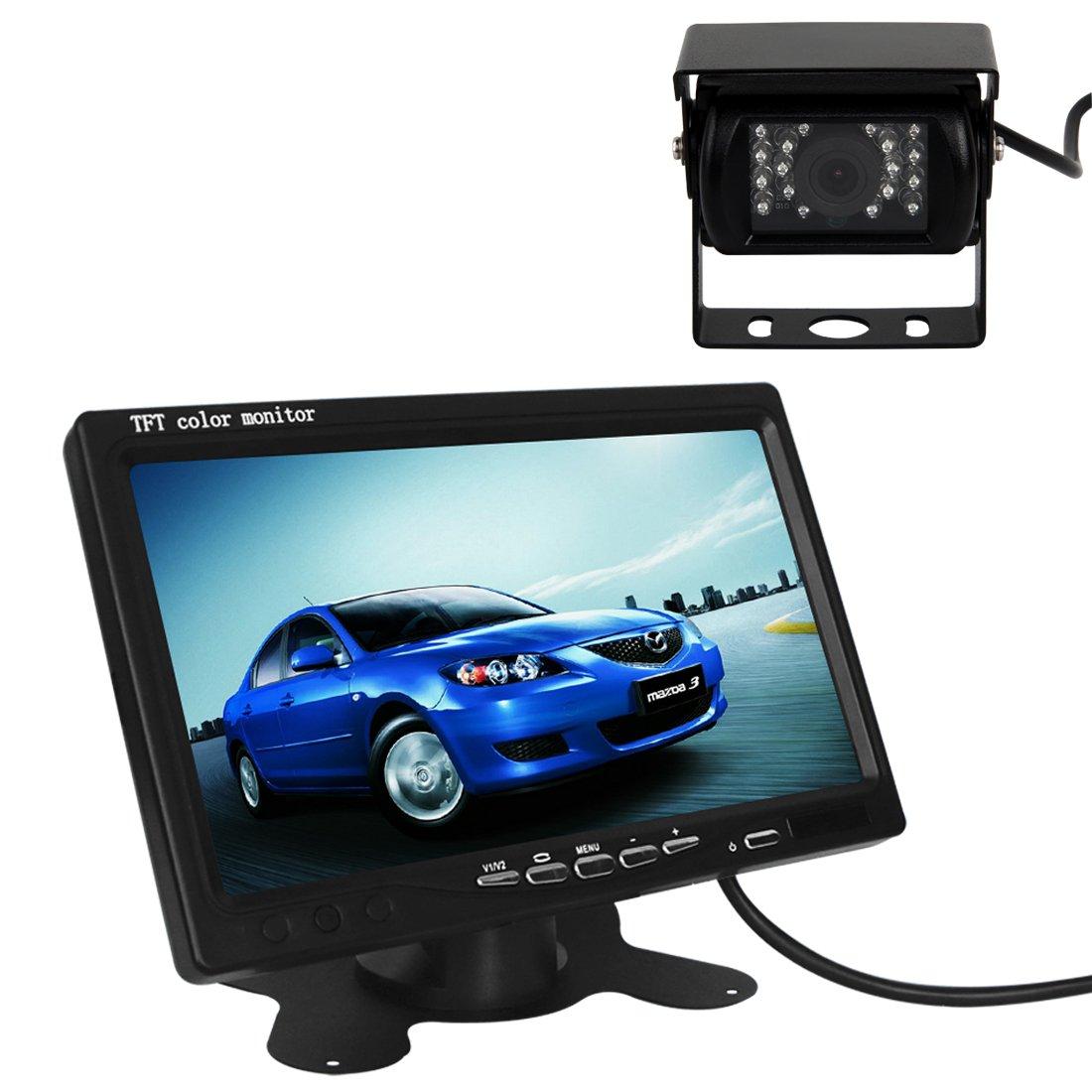 Pathson Monitor LCD TFT de 7 Pulgadas + 2 cá maras de Marcha atrá s Noche Resistente al Agua 18 Lá mparas infrarrojas Kit de Vista Trasera Color del Coche ES004