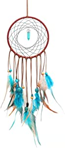 YINGSHUI Dreamcatcher Blue Feather with Lucky Stone, Traditional Indian Circular mesh, Traditional Feather Wall Hanging Home Decoration, Bedroom Boys and Girls' Children, Arts and Crafts Gifts (Blue)