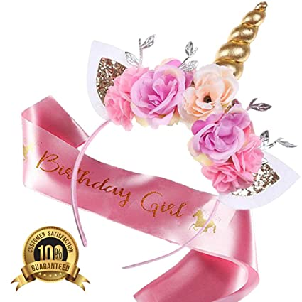 5fae7b04ef48d Unicorn Headband Birthday Girl Set -Headband and Pink Satin Sash Girls  Happy Birthday Party Supplies Favors and Decorations Photo Props Set