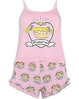 Primark Ladies Girls Womens Rugrats Angelica Pink Pyjamas Frilly Pink Cami & Shorts Pajama PJ Set