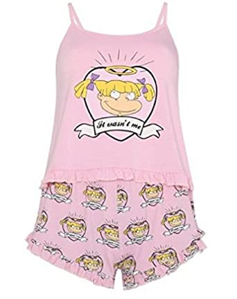 Primark Ladies Girls Womens Rugrats Angelica Pink Pyjamas Frilly Pink Cami & Shorts Pajama PJ Set