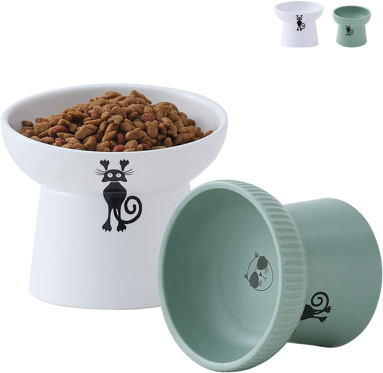 TAMAYKIM 12 OZ & 8 OZ Ceramic Raised Cat Bowls, Food and Water Bowls Set for Cats, Porcelain Elevated Stress Free Feeding Pet Dish, Dishwasher and Microwave Safe, 2 Pack (White & Green)