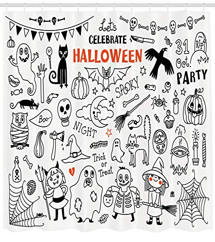 Fantasy Star Durable Waterproof Shower Curtains for Bathroom- Lets Celebrate Halloween Quoted Skeleton Cat Owl Night Drawings Bat, Machine Washable Bathroom Decoration, Hooks Included, 72