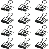 SODIAL(R) Creative Wire Binder Clips 12 PCS Reusable Paper Clips Small Skeleton Clips with Good Elasticity Strong Grip for Your Documents (Black)