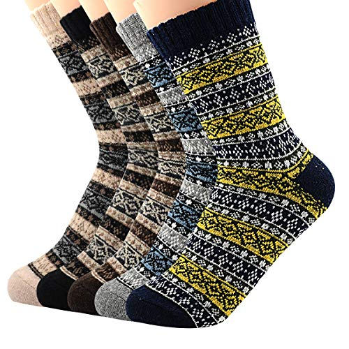 Zando Womens Super Thick Merino Ragg Knit Warm Wool Crew Mid-Calf Winter Socks Stripe 5 Pairs Patchwork Color Shoe - Stripe Socks Winter Sport