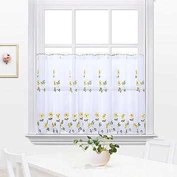 Cortina de cocina bordada, cortina de café, Cortina de comedor ...